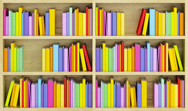 Bookcase with multicolored books Royalty Free Stock Photos