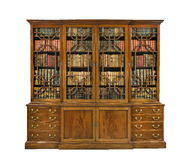 Bookcase old antique English with books Stock Photography