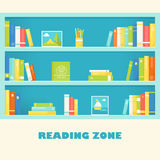 Bookcase Shelves with Books and Pictures. Reading Zone Sign. Vector EPS 10 Royalty Free Stock Photos