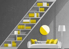 Bookcase with sofa and floor lamp, illustration painting. Interior design, furniture design Stock Photo