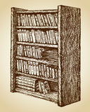 Bookcase with various books. Vector drawing