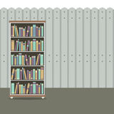 Bookcase With Wooden Background Vintage Style Royalty Free Stock Photos