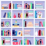 Bookcase wth colorful books and home decor on bookshelves, vector flat illustration. House interior background. Bookcase wth colorful books and home decor on royalty free illustration
