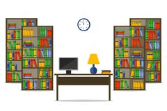 Bookcases and desk inside house or office. Flat Vector Illustration for web site, print, infographic. stock illustration