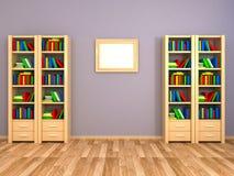 Bookcases przy ścianą Zdjęcie Stock