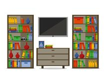 Bookcases with tv. Home library or hotel room. Education, School and University, study and literature. Learning and. Knowledge. Vector flat illustration Stock Images