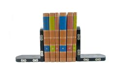 Bookends #3. Bookends supporting six colorful books stock image