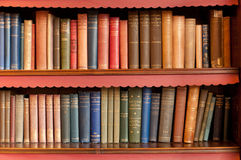 Bookeshelf with old books. Two rows of bookshelf in the library Royalty Free Stock Photo