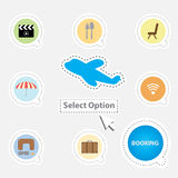 Booking airline ticket select condition. Concept royalty free illustration