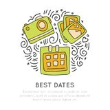 Booking in best days traveling icon. Photo camera, photos, calendar icon in circle form with decorative elements. Travel. In best time hand draw cartoon concept Stock Photos
