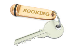 Booking concept, hotel key with keychain. 3D rendering. Booking concept, hotel key with keychain. 3D Stock Photography