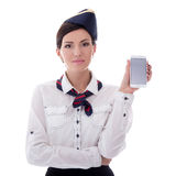 Booking concept - young stewardess holding smart phone with blan Stock Photography