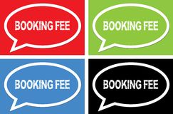 BOOKING FEE text, on ellipse speech bubble sign. Stock Image