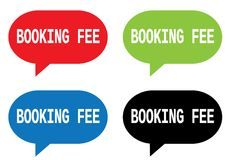BOOKING FEE text, on rectangle speech bubble sign. Royalty Free Stock Images