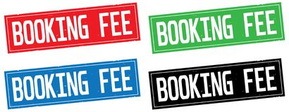 BOOKING FEE text, on rectangle stamp sign. Stock Photo