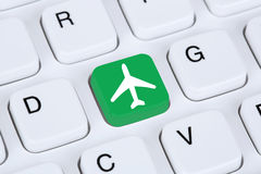 Booking flight and holidays online shopping e-commerce internet. Travel shop on computer Royalty Free Stock Images