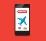 Booking flight on smartphone Royalty Free Stock Image