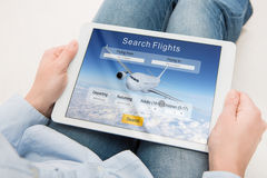Booking flight travel traveler search reservation holiday page Royalty Free Stock Photo