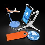 Booking Flight Via Mobile App. Illustration on the subject of `Travel and Tourism`. 3D rendering graphics on reflective black background Royalty Free Stock Photo