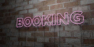BOOKING - Glowing Neon Sign on stonework wall - 3D rendered royalty free stock illustration Stock Photos