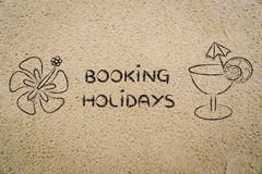 Booking holidays, cocktail and flower illustration on sand Royalty Free Stock Photography