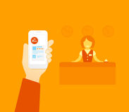 Booking hotel. Flat illustration concept process of booking hotel via mobile app Stock Photography