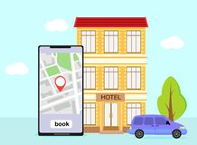 Booking hotel, room, royalty free illustration