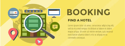 Booking Hotel. Travel infographic. Loupe, Building Stock Photos