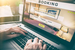 Booking hotel travel traveler search business reservation Royalty Free Stock Image