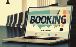 Booking on Laptop in Conference Room. 3D. Royalty Free Stock Photo