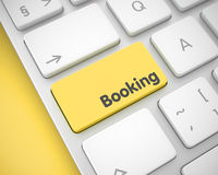 Booking - Message on Yellow Keyboard Keypad. 3D. Stock Image