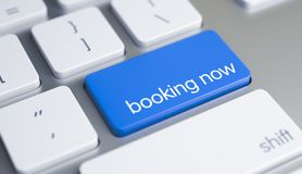 Booking Now on the Blue Keyboard Keypad. 3D. Royalty Free Stock Photography