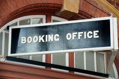 Booking office sign, Moor Street Railway Station. Royalty Free Stock Photo