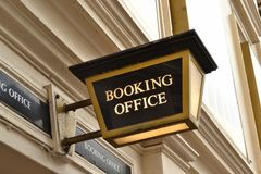 Booking office sign Stock Photo