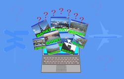 Booking online. Which destination booking online?Sea, mountain, lake, historical cities stock illustration