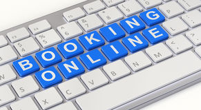 Booking online concept with computer keyboard. 3D illustration Royalty Free Stock Photo