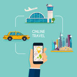 Booking online flights and taxi responsive web design template. Royalty Free Stock Photos