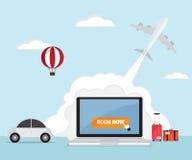 Booking online for ticket. Airplane, car rental, hotel, travel vector illustration stock illustration