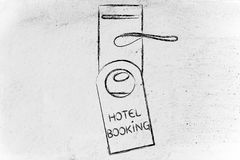 Booking the perfect hotel, funny door hanger design Stock Photography