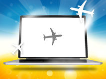 Booking Planes Laptop Royalty Free Stock Photography