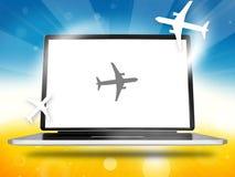 Booking Planes Laptop. Graphic illustration image royalty free illustration