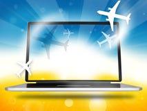 Booking Planes Laptop Stock Photos