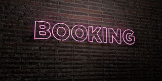 BOOKING -Realistic Neon Sign on Brick Wall background - 3D rendered royalty free stock image Royalty Free Stock Images