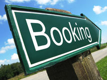 Booking road sign. Along the road Stock Images