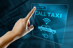 Booking Taxi On a digital screen Royalty Free Stock Photos