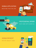 Booking taxi. Flat vector illustration concept process of booking taxi via mobile app stock illustration