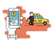 Booking taxi via mobile app Royalty Free Stock Photo