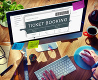 Booking Ticket Online Flight Travel Concept. People Booking Ticket Online Flight Travel Royalty Free Stock Image