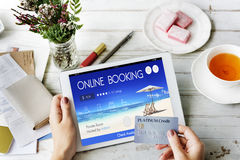 Booking Ticket Online Reservation Travel Flight Concept Royalty Free Stock Photography