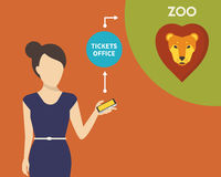 Booking tickets to zoo Stock Image